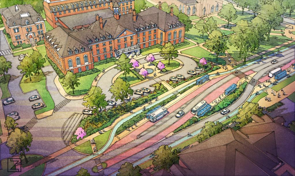 Drawing of the MCORE project in front of the Illini Union