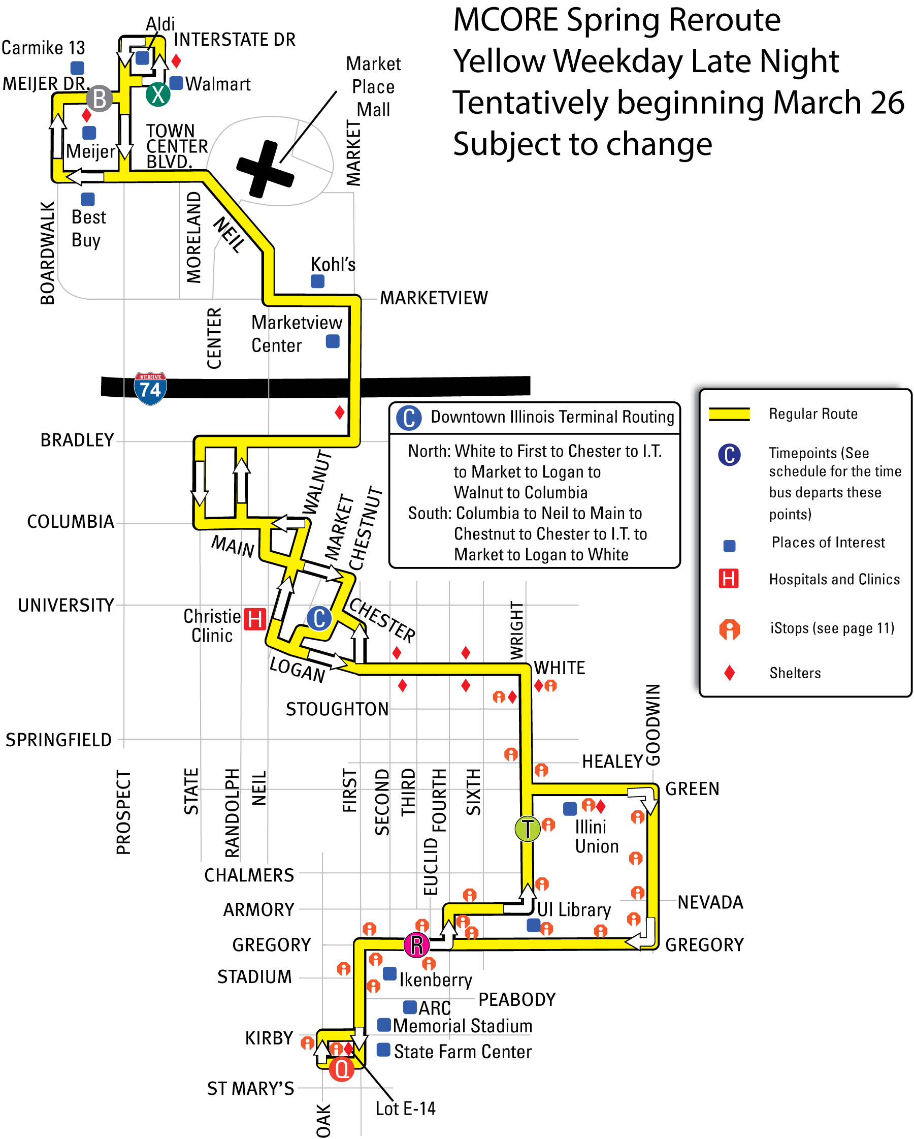 Map of the 100 Yellow: Weekday - Late Night reroute